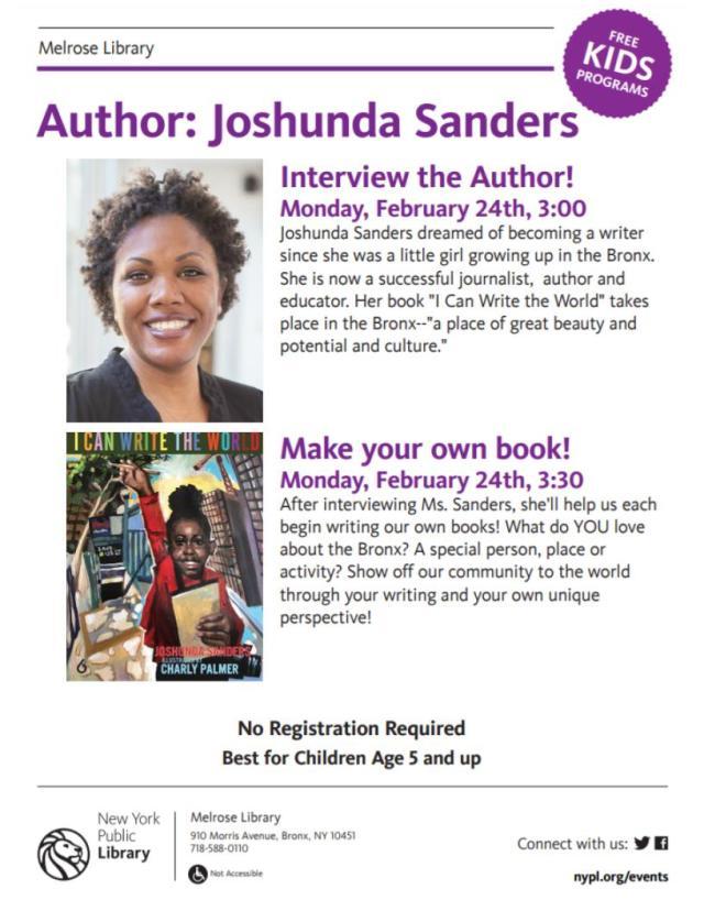Flyer_ Author Visit with Joshunda Sanders
